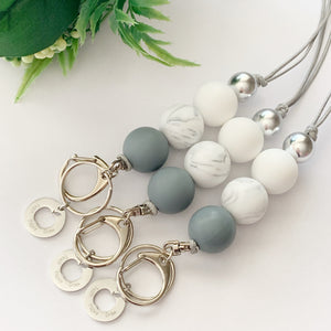 Grey & Marble Silver Teacher Charm Lanyard