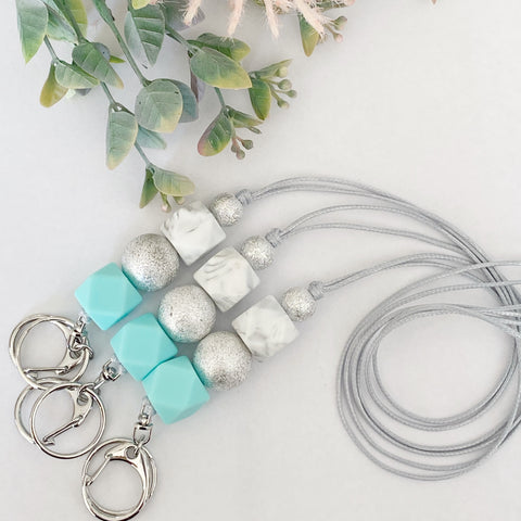Bright Mint silver sparkle Lanyard