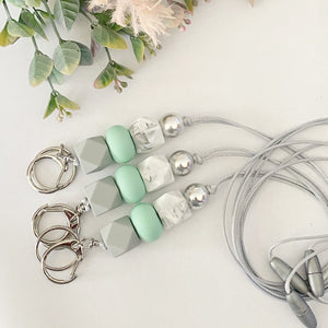 Grey mint marble Lanyard