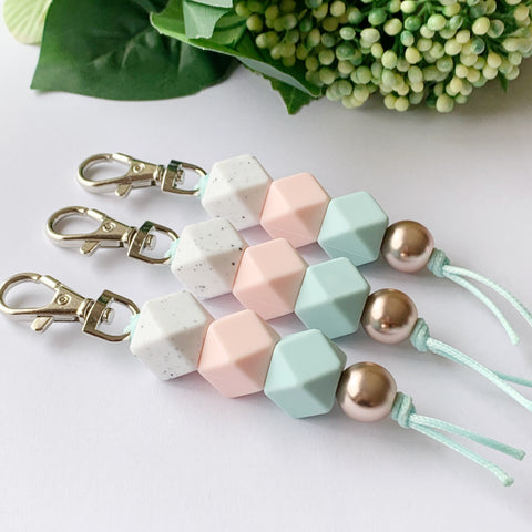White Speck Mint Hex Keyring