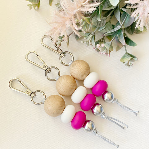 Wood & Hot Pink keyring