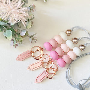 Pink Ombré Mirrored Pencil Charm Lanyard