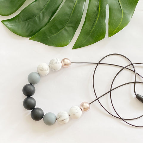 Black Grey Marble Necklace