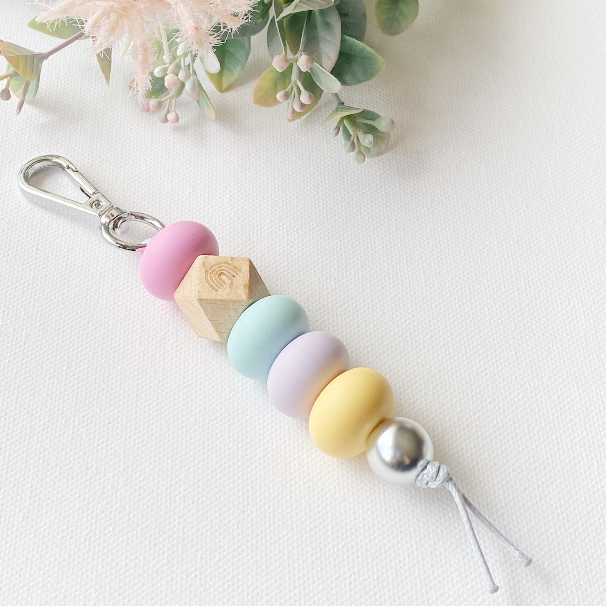 Rainbow Wood &  Colour keyring