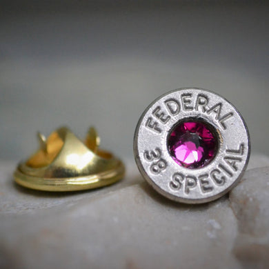 Federal 38 special spent ammunition lapel pin with pink swarovski crystal