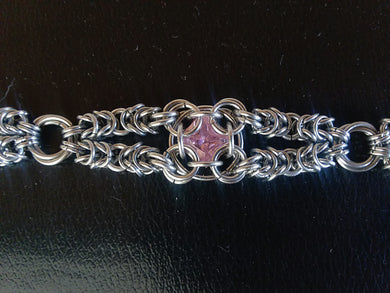 Pink Topaz Chainmaille Bracelet