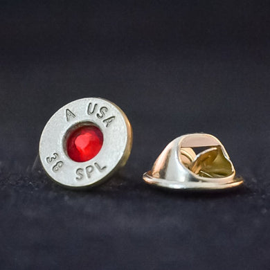 38 Special tie tack with red swarovski crystal
