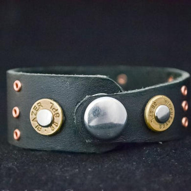 Leather and ammo cuff bracelet - One Bad Bat