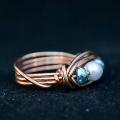 Copper wire wrap ring - One Bad Bat