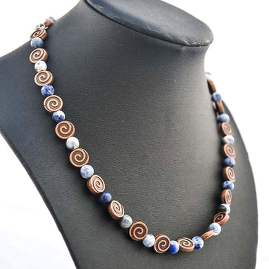 Copper and blue sodalite beaded necklace