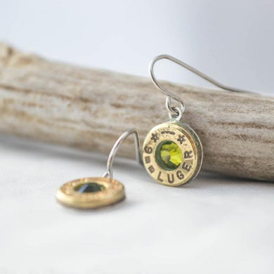 9mm dangle earrings with august birthstone - One Bad Bat