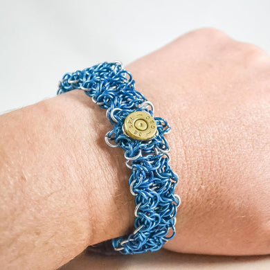 Blue chainmaille and .38 special brass bracelet - One Bad Bat