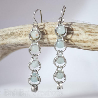 Aquamarine chainmaille earrings - One Bad Bat