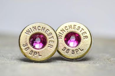 Winchester 38 special Bullet earrings with pink swarovski crystal