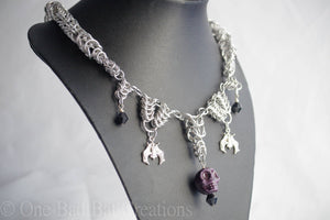 Skulls and bats chainmaille necklace - One Bad Bat