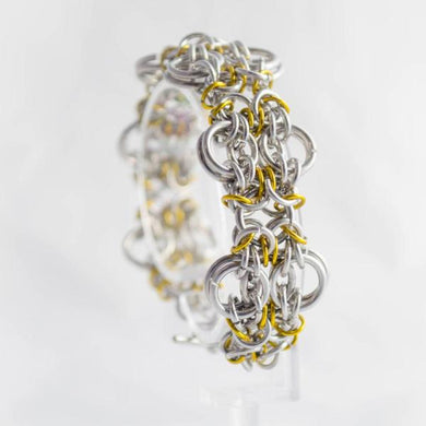 Silver and yellow chainmaille bracelet - One Bad Bat