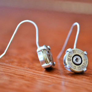 Sterling silver .38 special dangle earrings - One Bad Bat