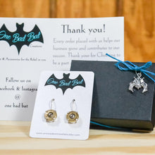 Load image into Gallery viewer, Sterling silver .38 special dangle earrings - One Bad Bat