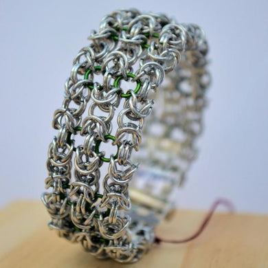 Silver and green chainmail cuff bracelet - One Bad Bat