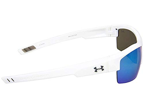 Under Armour Igniter Sunglasses, Shiny White / Gray Blue Multiflection Lens, 60 mm
