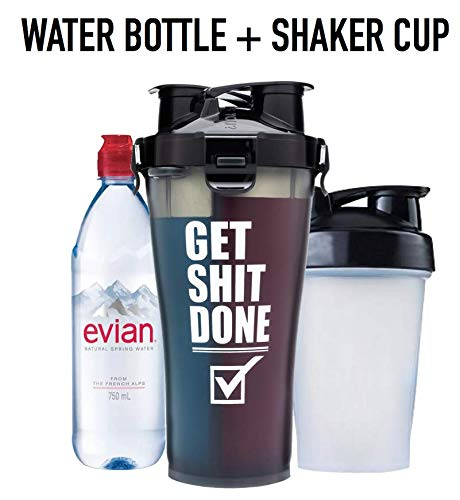 Hydra Cup - 36 oz High Performance Dual Shaker Bottle, 2 in 1, 14oz + 22oz, Leak Proof, Awesome Colors, Patented PRE + Protein Shaker Cup, Save Time & Be Prepared, Get It Done Black - Ctfitnesswear