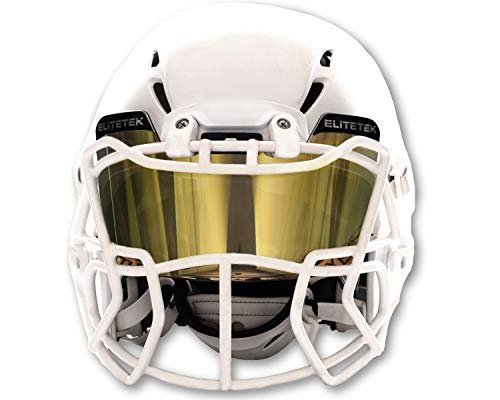 EliteTek Color Football & Lacrosse Eye-Shield Facemask Visor - Fits Youth & Adult Helmets (Black Gold Smoked) - Ctfitnesswear
