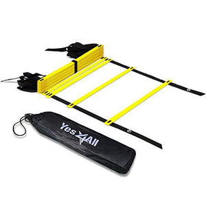 Yes4All Agility Ladder - Speed Agility Training Ladder with Carry Bag - 12 Rung (Yellow) - Ctfitnesswear