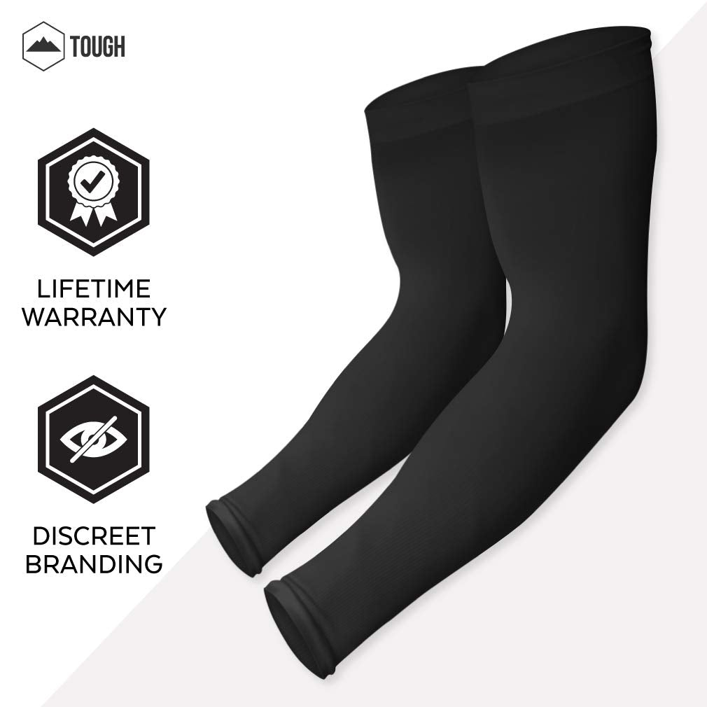 Tough Outdoors UV Protection Cooling Arm Sleeves, UPF 50 Long Sun Sleeves for Men and Women
