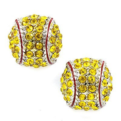 Kenz Laurenz Softball Earrings Studs - Crystal Rhinestone Post Silver Bling Yellow Fastpitch 14mm Sport Fashion Pair