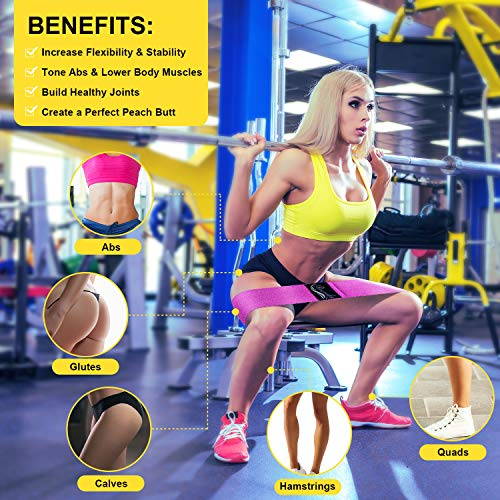 Booty Bands, Recredo Non Slip Resistance Bands for Legs and Butt, Workout Bands Exercise Bands Glute Bands for Women, 3 Pack - Training Ebook and Video Included