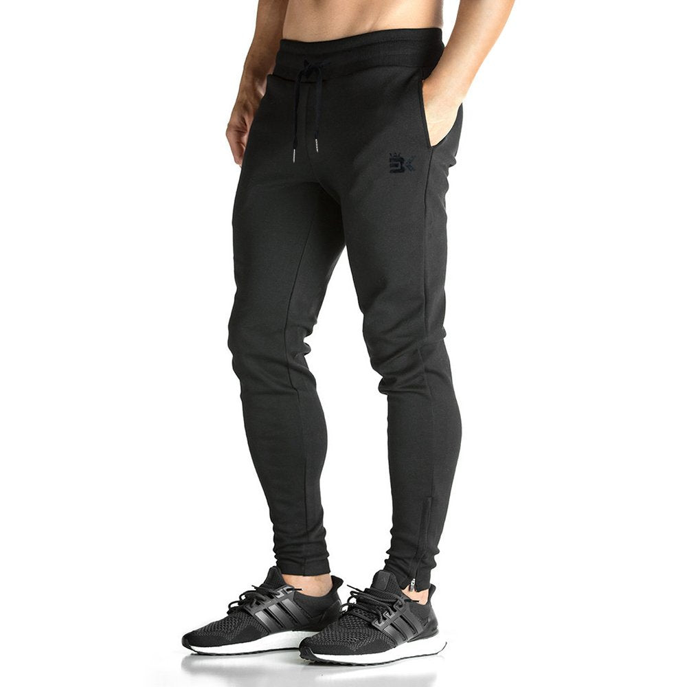 BROKIG Mens Zip Jogger Pants - Casual Gym Fitness Trousers Comfortable Tracksuit Slim Fit Bottoms Sweat Pants with Pockets - Ctfitnesswear