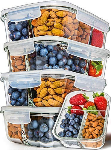 Prep Naturals Glass Meal Prep Containers 3 Compartment 5 Pack - Bento Box Containers Glass Food Storage Containers with Lids - Food Prep Containers Glass Storage Containers - Ctfitnesswear
