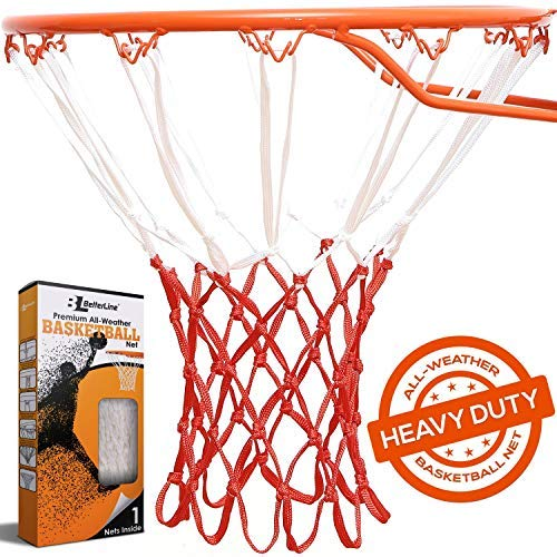BETTERLINE Heavy Duty Basketball Net Replacement - All-Weather Thick Nets Fit Standard Indoor and Outdoor 12-Loop Rims (White and Red) - Ctfitnesswear