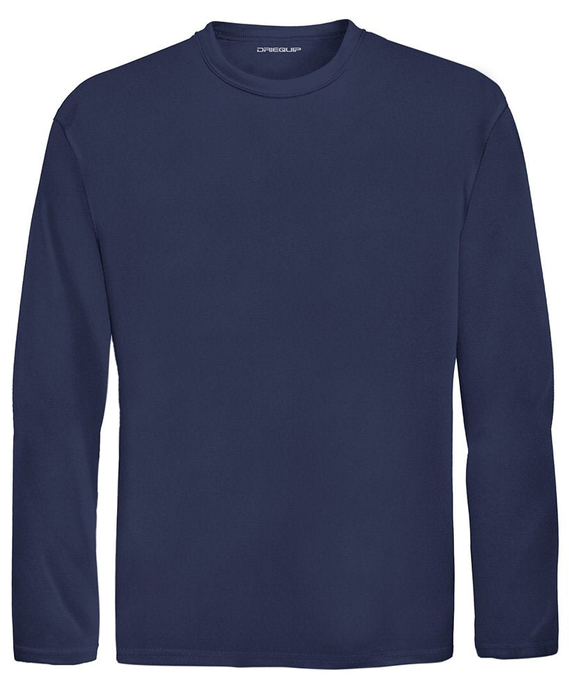 DRI-Equip Youth Long Sleeve Moisture Wicking Athletic Shirts,M-Navy more sizes and colors available - Ctfitnesswear