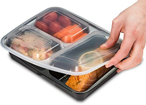 Ez Prepa [25 Pack] 32oz 3 Compartment Meal Prep Containers with Lids - Food Storage Containers BPA Free Plastic, Bento Box, Lunch Containers, Microwavable, Freezer and Dishwasher Safe, Food Containers - Ctfitnesswear