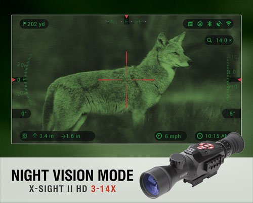 ATN X-Sight II HD 3-14 Smart Day/Night Rifle Scope w/1080p Video, Ballistic Calculator, Rangefinder, WiFi, E-Compass, GPS, Barometer, iOS & Android Apps - Ctfitnesswear