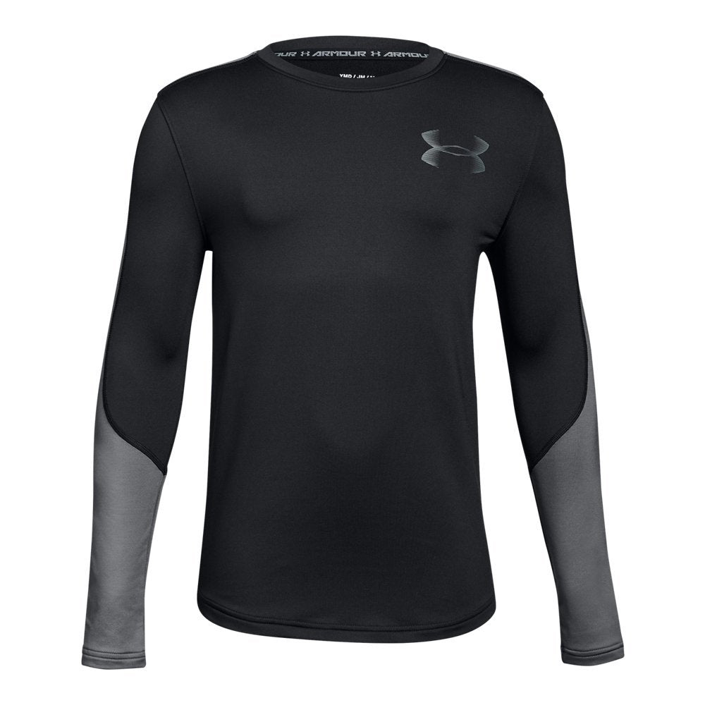 Under Armour Boys ColdGear Crew, Black (001)/Graphite, Youth Large,more sizes and colors available - Ctfitnesswear