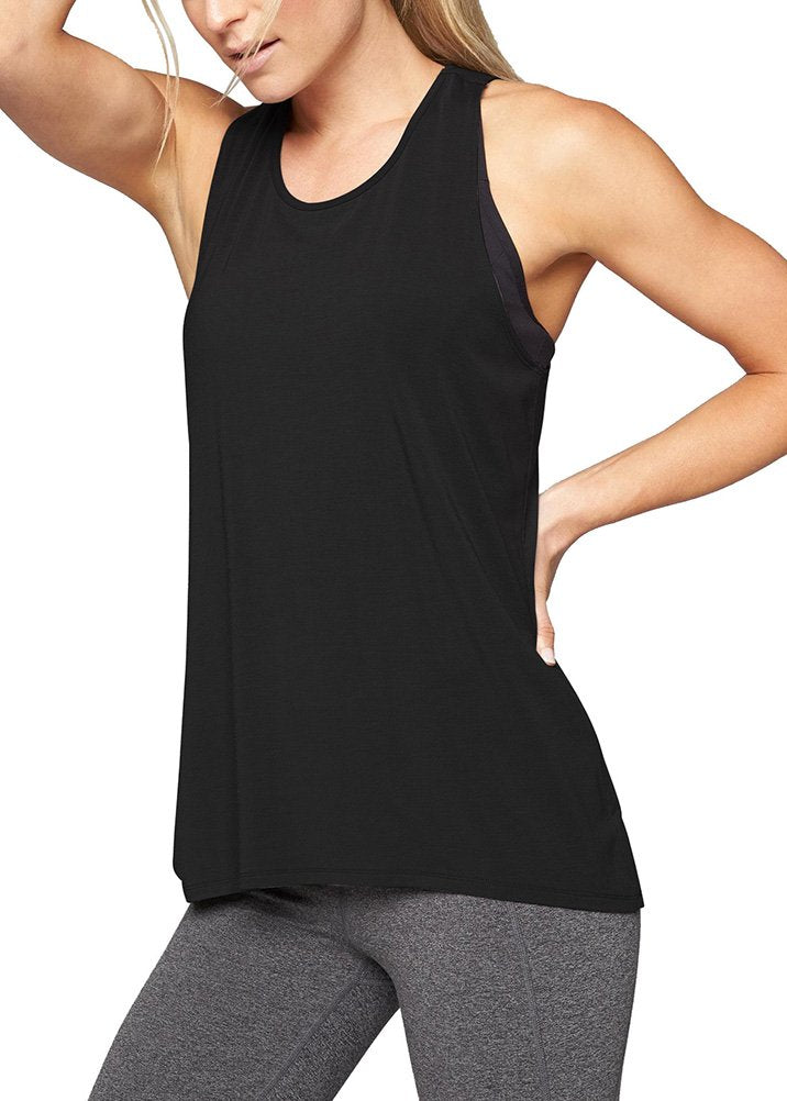 Mippo Womens Yoga Shirts Long Workout Tank Tops Sexy Cross Back Flowy Active Camping Clothes Loose Fit Muscle Tanks Exercise Shirt Sports Gym Active Tops Black M(click for sizes) - Ctfitnesswear