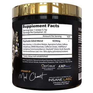 Insane Labz Psychotic Gold, High Stimulant Pre Workout Powder, Extreme Lasting Energy, Focus, Pumps and Endurance with Beta Alanine, DMAE Bitartrate, Citrulline, NO Booster, 35 Srvgs, Gummy Candy - Ctfitnesswear