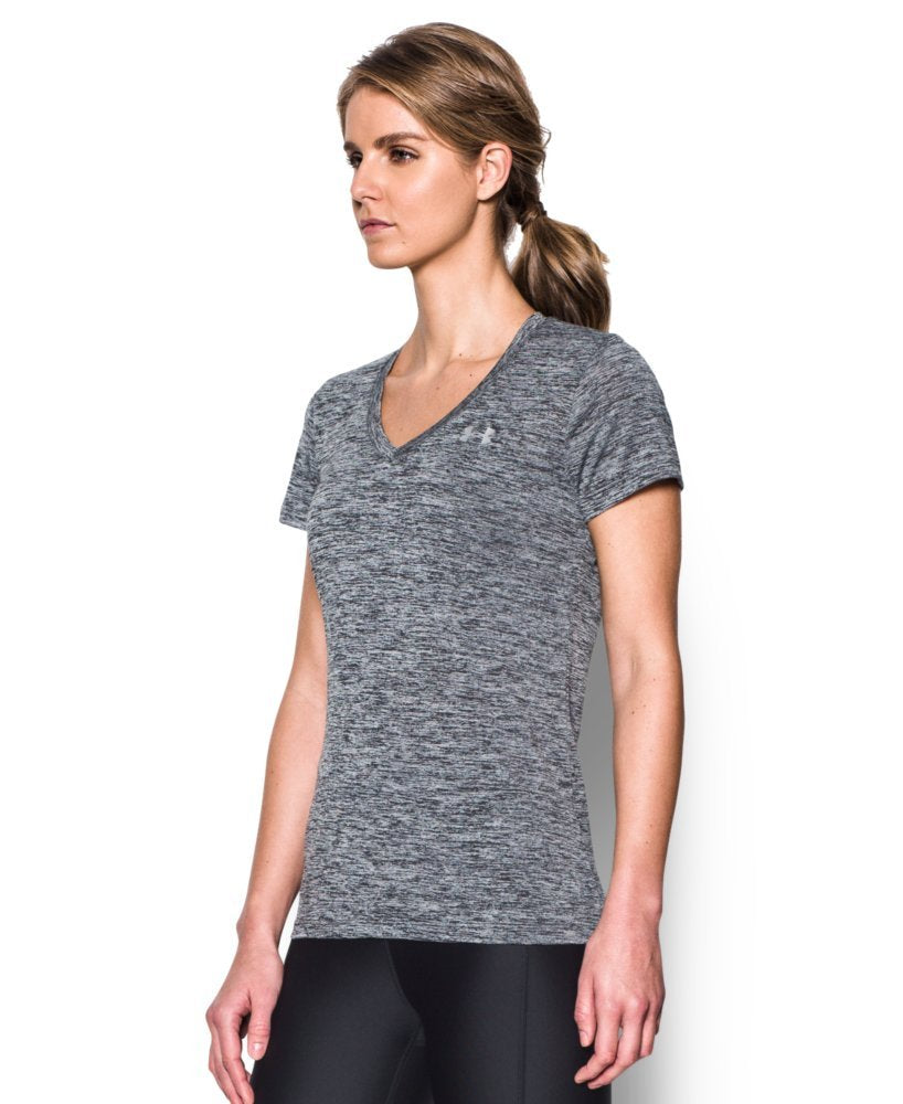 Under Armour Women's Tech V-Neck Twist Short Sleeve T-Shirt, Black (001)/Metallic Silver,all sizes available - Ctfitnesswear