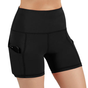 ODODOS High Waist Out Pocket Yoga Short Tummy Control Workout Running Athletic Non See-Through Yoga Shorts,Black (click for sizes) - Ctfitnesswear