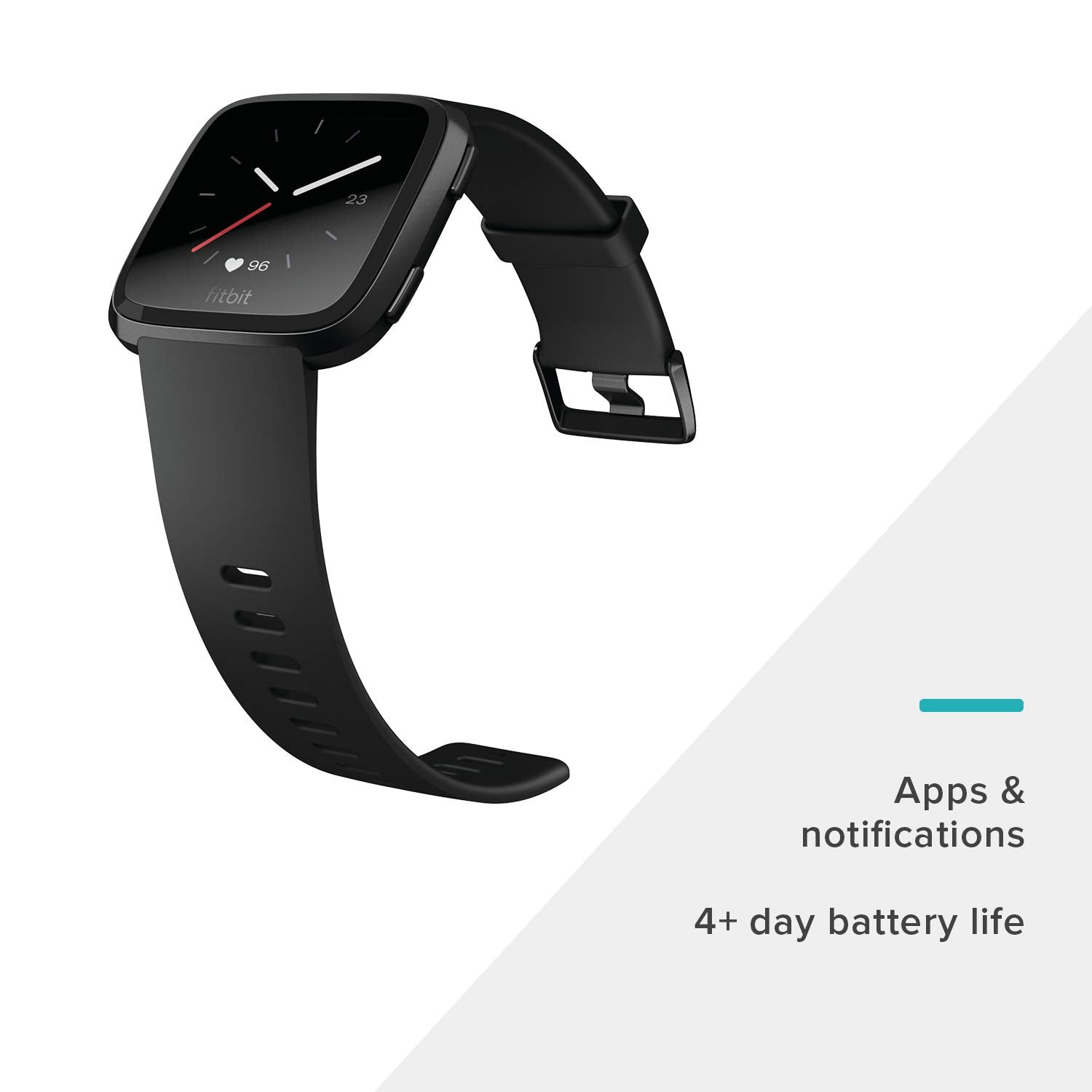 Fitbit Versa Smart Watch, Black/Black Aluminium, One Size (S & L Bands Included) - Ctfitnesswear