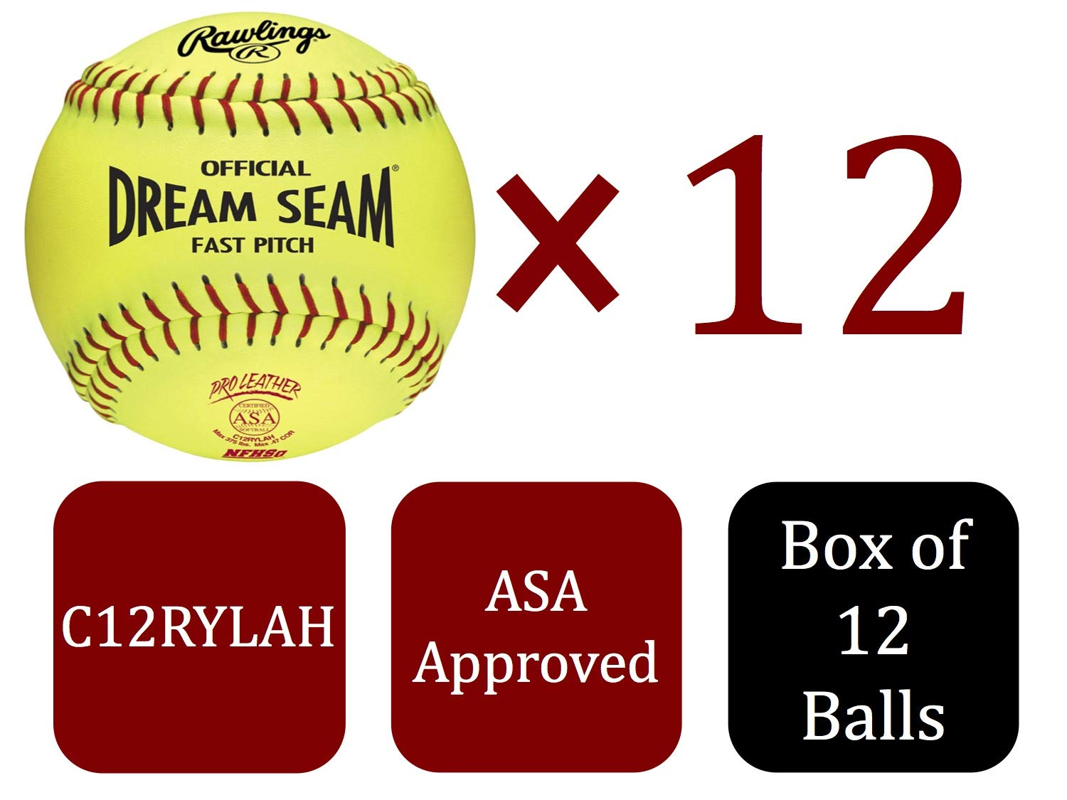 Rawlings Sporting Goods C12RYLAH Official ASA Dream Seam Fast Pitch Softballs (One Dozen), Yellow, Size 12 - Ctfitnesswear