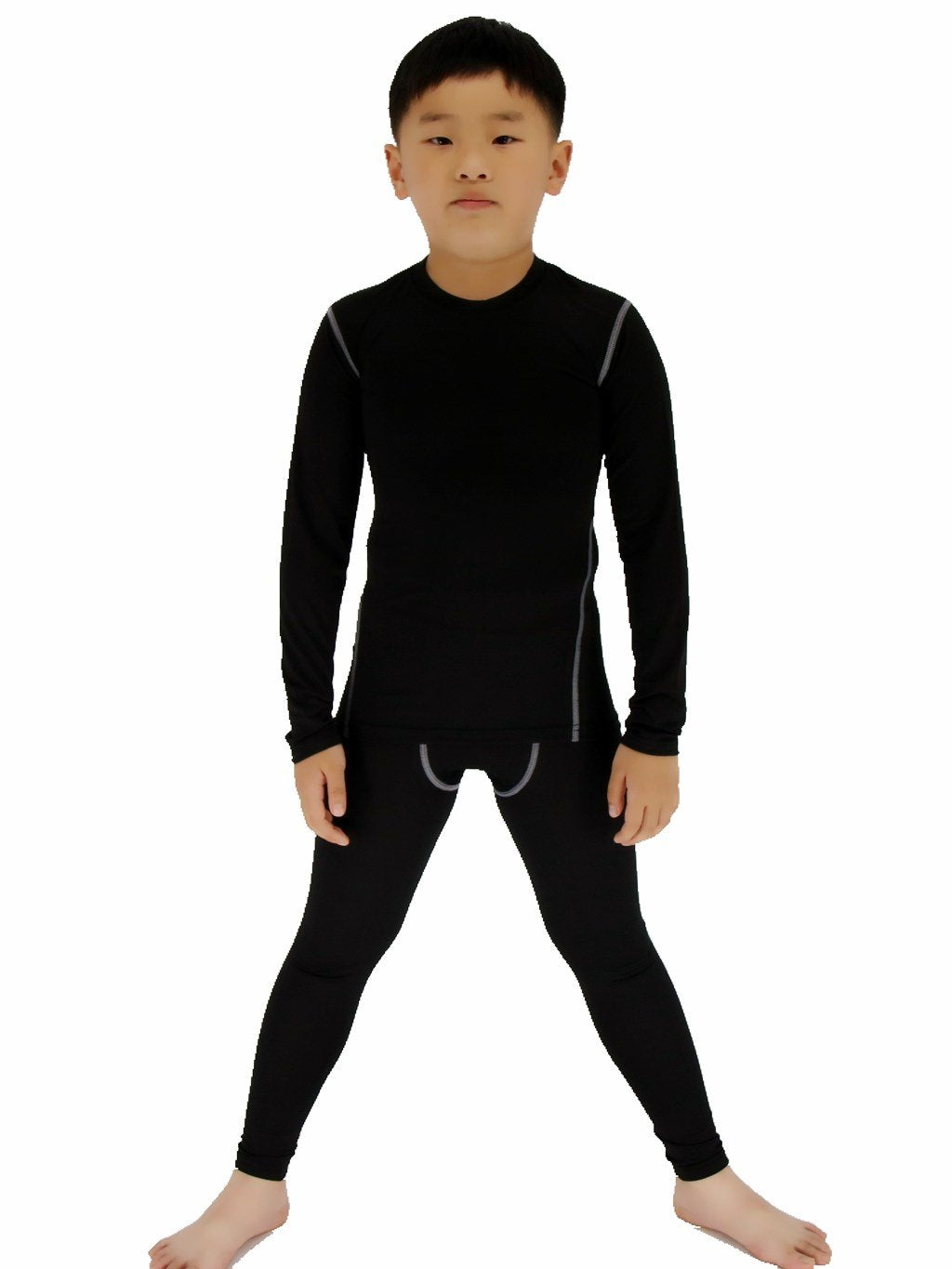 LANBAOSI Boys & Girls Long Sleeve Compression Shirts and Pant 2 PCS Set, Black,more colors and sizes available - Ctfitnesswear