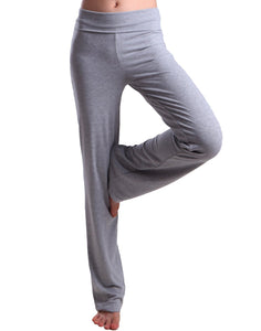 HDE Foldover Athletic Yoga Pants Gym Workout Leggings (Light Gray),all sizes available - Ctfitnesswear