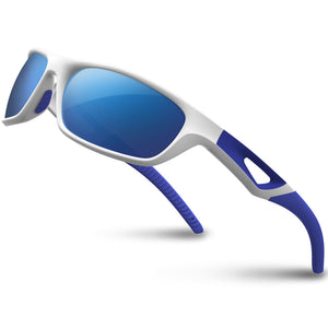 RIVBOS Polarized Sports Sunglasses Driving Sun Glasses Shades for Men Women Tr 90 Unbreakable Frame for Cycling Baseball Running Rb831 (White&Blue Mirror Lens) - Ctfitnesswear