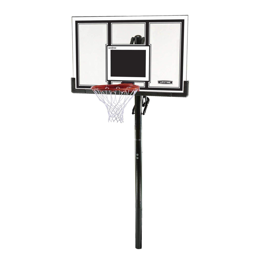 Lifetime 71525 Height Adjustable In Ground Basketball System, 54 Inch Shatterproof Backboard - Ctfitnesswear