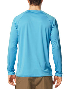 BALEAF Men's UPF 50+ Outdoor Running Long Sleeve T-Shirt Blue - Ctfitnesswear