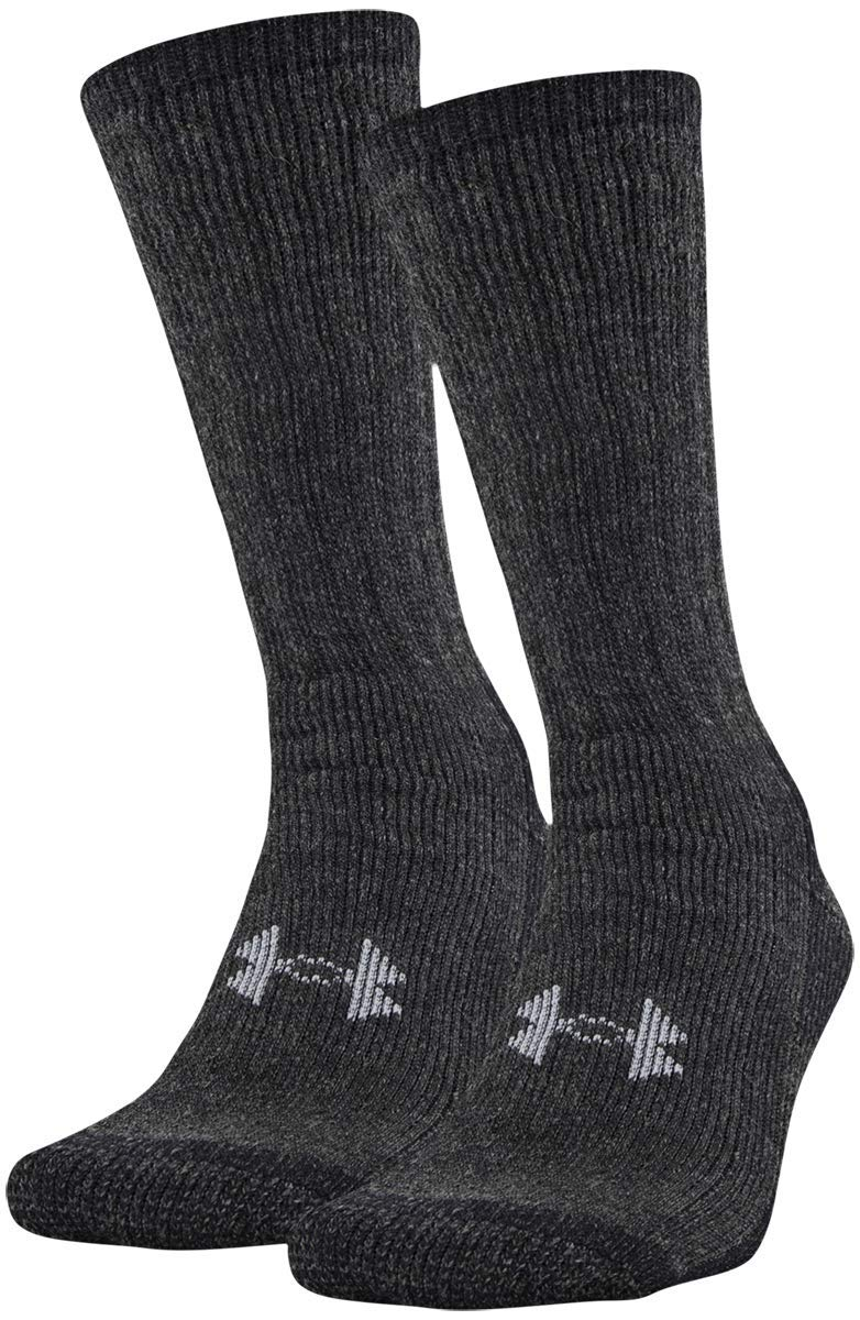 Under Armour UA 2-Pair Boot Crew, Black, Shoe Size: Mens 8-12, Womens 9-12 - Ctfitnesswear
