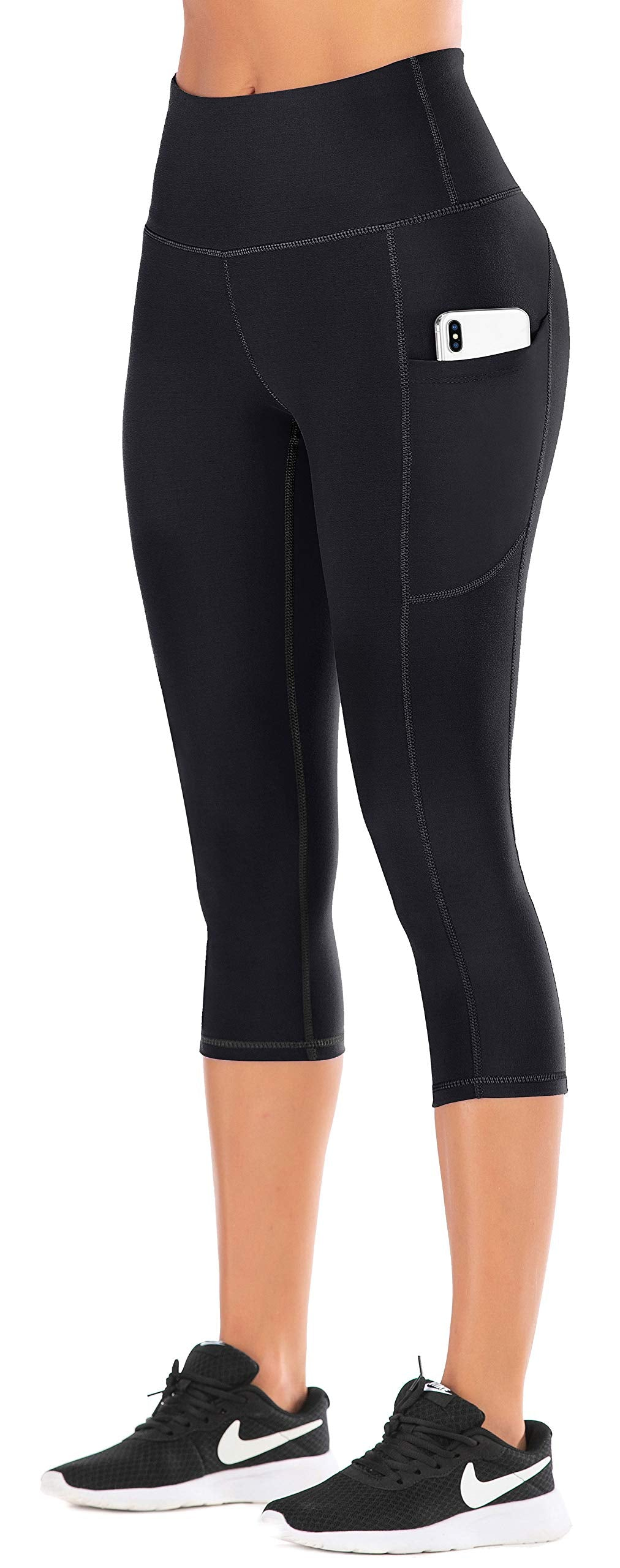 IUGA High Waist Yoga Pants with Pockets, Tummy Control Yoga Capris for Women, 4 Way Stretch Capri Leggings with Pockets(Black, L)(click for sizes) - Ctfitnesswear
